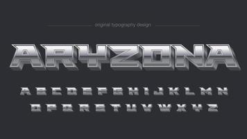 Tipografía vintage metalizado cromo plateado vector