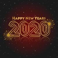 Happy New Year Red and Gold Background  vector