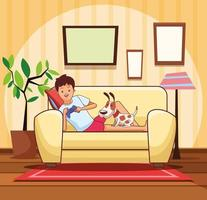 Teenager with videogame and dog cartoon