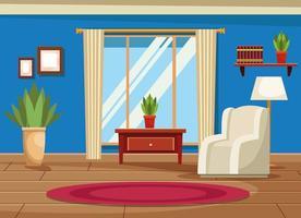Interior de la casa con muebles decorados vector