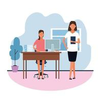 boss and worker teamwork in office vector