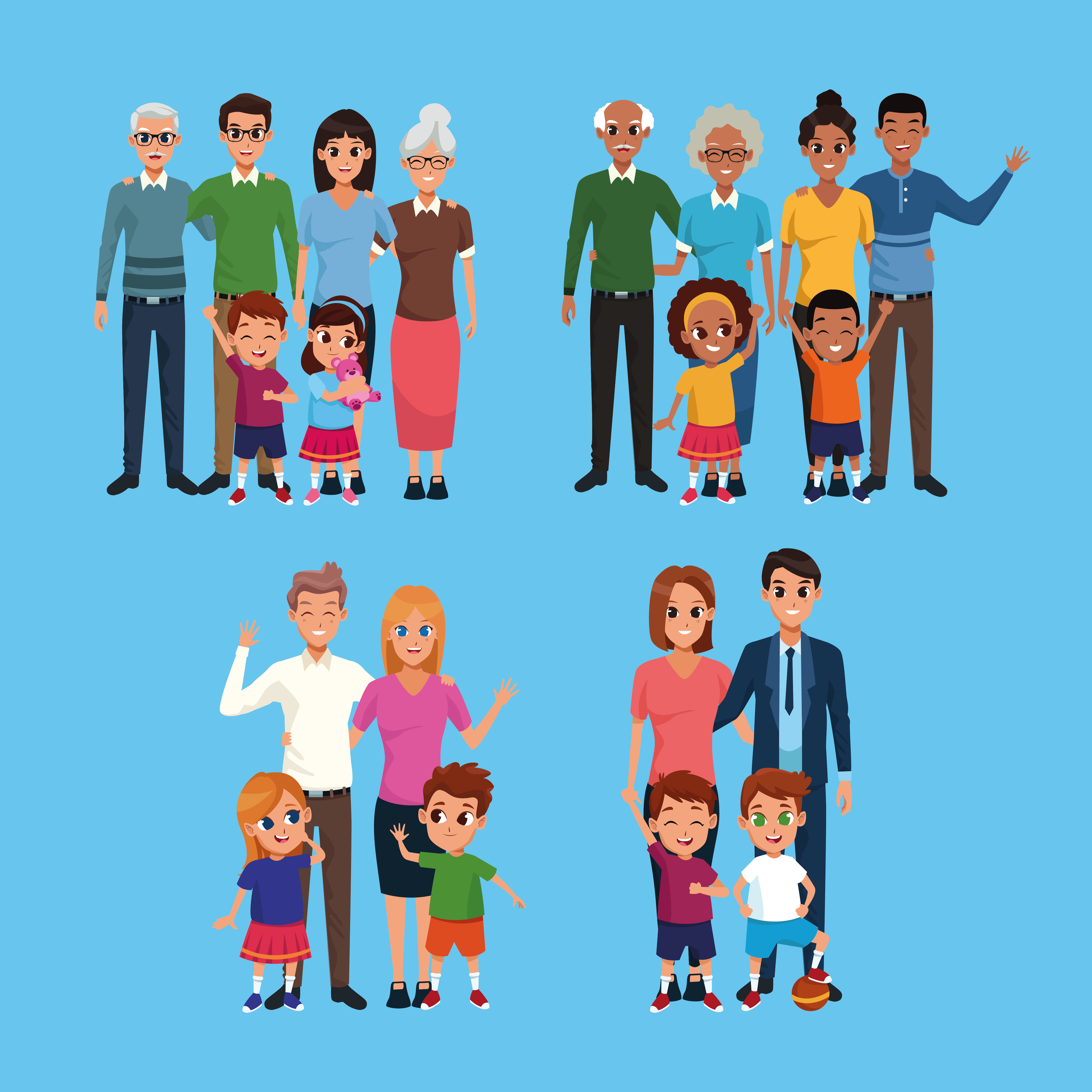 Family Set Of Cartoons Collection Download Free Vectors Clipart Graphics Vector Art The best selection of royalty free cartoon family vector art, graphics and stock illustrations. vecteezy