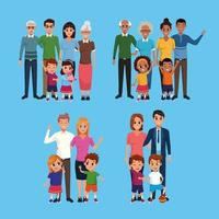 Family set of cartoons collection vector
