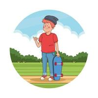 Teenager boy with skateboard in the park scenery vector