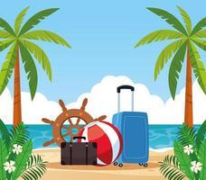 Vacanze estive e articoli da viaggio insieme del fumetto