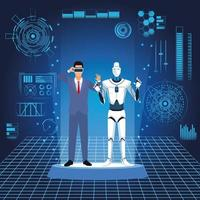 humanoid robot and businessman with futuristic elements