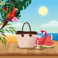 Borsa estiva anguria e cocktail, cartone animato scenario spiaggia