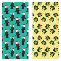 tropical exotic toucan bird of paradise flower pattern design