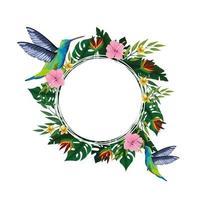 Summer tropical blank card frame