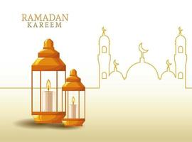 ramadan kareem with lantern and mosque shape