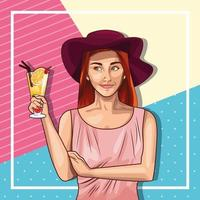 Pop art woman wearing hat and holding drink vector
