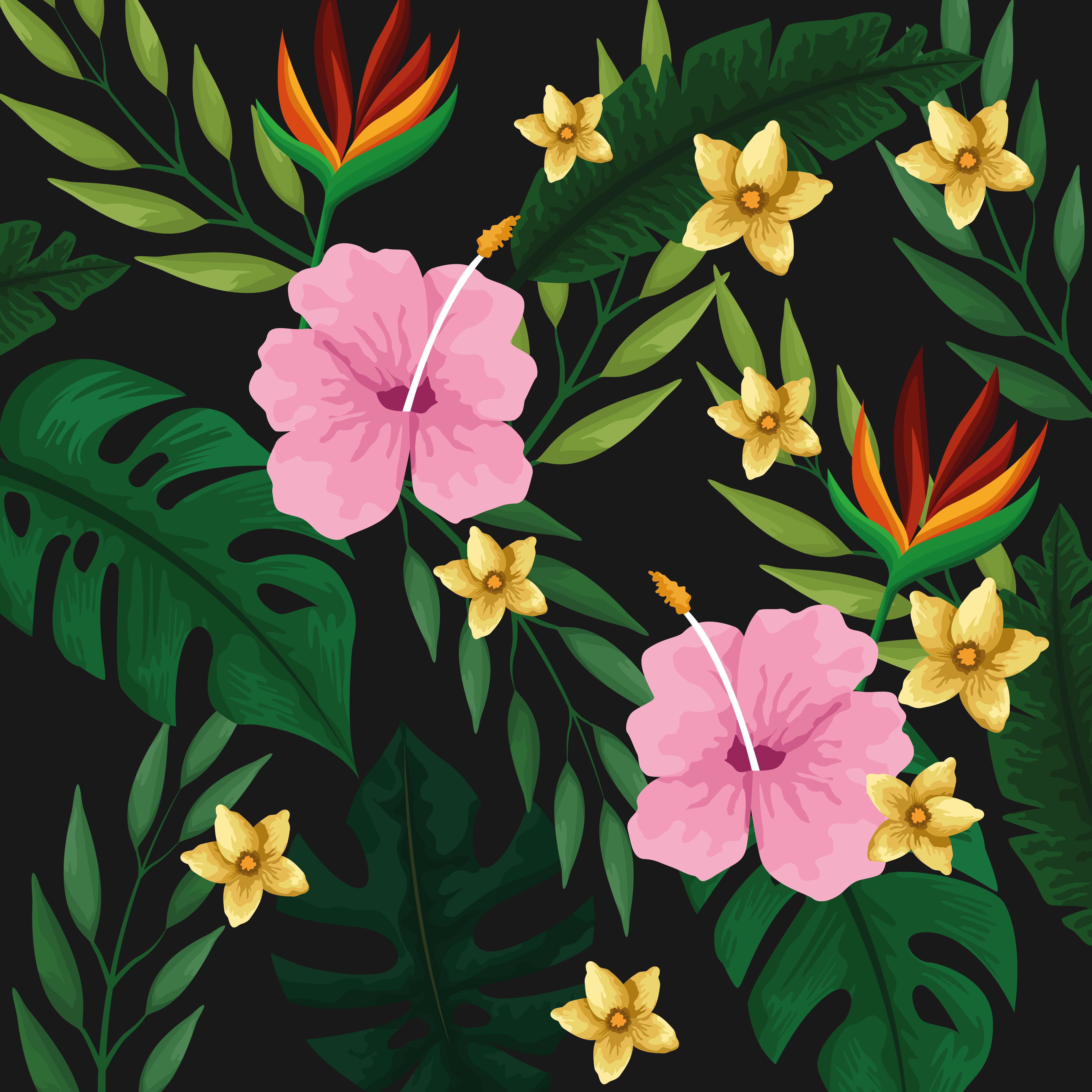 Tropical Leaves And Flowers Background Pattern Download Free Vectors Clipart Graphics Vector Art Flowers leaves tropical tropical leaves tropical flowers flowers leaves green leaves high definition picture leaf background close up dew beautiful plants flower petals autumn tulips high definition. vecteezy