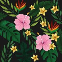 Tropical leaves and flowers background pattern