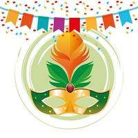 Mardi gras mask in round icon with pennants and confetti vector