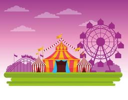 Circus fair festival in front of pink sky scenery cartoon
