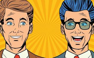 Pop art two business men smiling faces cartoon