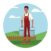 Farmer working in camp holding milk buckets cartoon