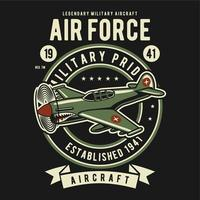 Vintage of badge aircraft from military  vector
