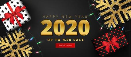 50 discount offer for 2020 happy new year sale lettering vector