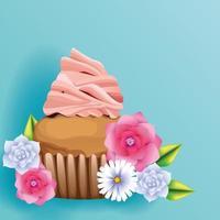 Bolinho delicioso e cartão de flores vetor