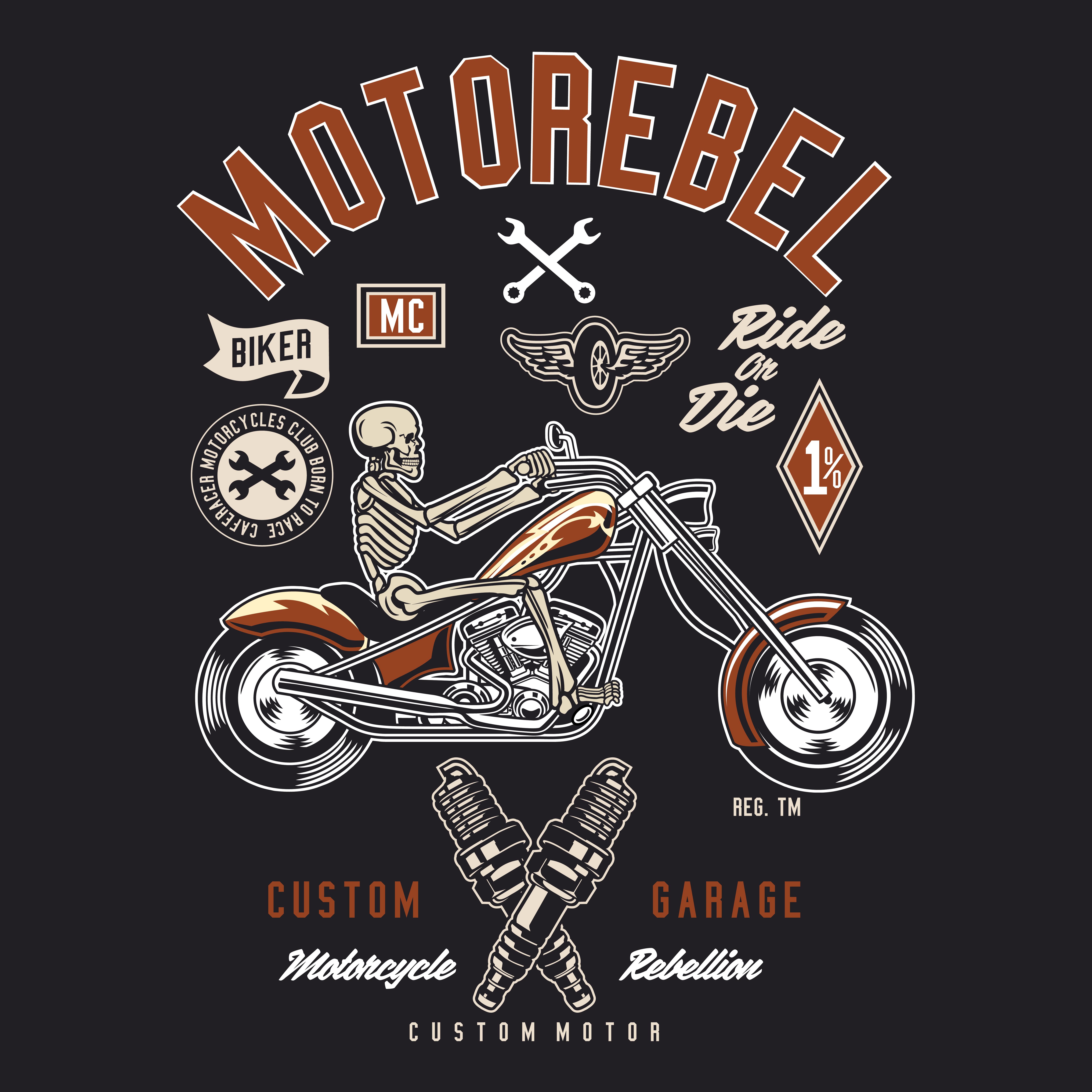 Biker Motorbike Cafe racer Speed Rebel custom Garage men`s t-shirt vintage print