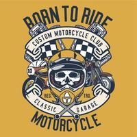Crâne portant un casque avec une moto classique vecteur
