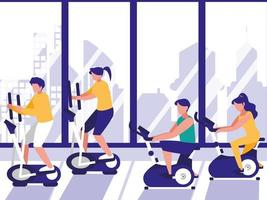People in spin class at gym