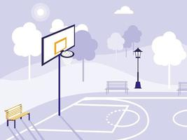 basketball field and park isolated icon