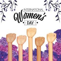 power hands up with roses and plants to womens day vector