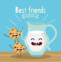 Galletas de dibujos animados feliz con el mensaje de mejores amigos