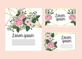 Set di carte floreali con rose