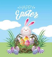 Happy easter rabbit with eggs decoration