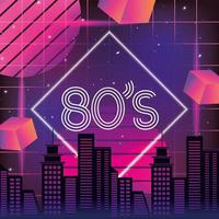 Neon 80s style graphic with skyline