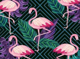 Exotic flamingos animals and leaves retro background