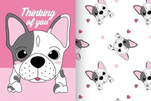 Hand drawn cute dog with pattern set