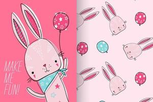 Hand drawn cute bunny with pattern set