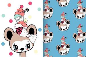 Hand drawn cute mouse with pattern set vector