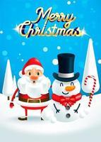 Weihnachtsmann und Schneemann vektor