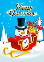 Bonhomme de neige sur le traîneau du père Noël