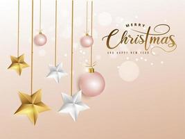 Christmas image on soft pink decorated with baubles and golden, white stars.