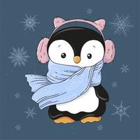 Penguin in headphones and a scarf