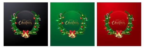 Tarjeta de felicitación de navidad con coronas y espacio para texto