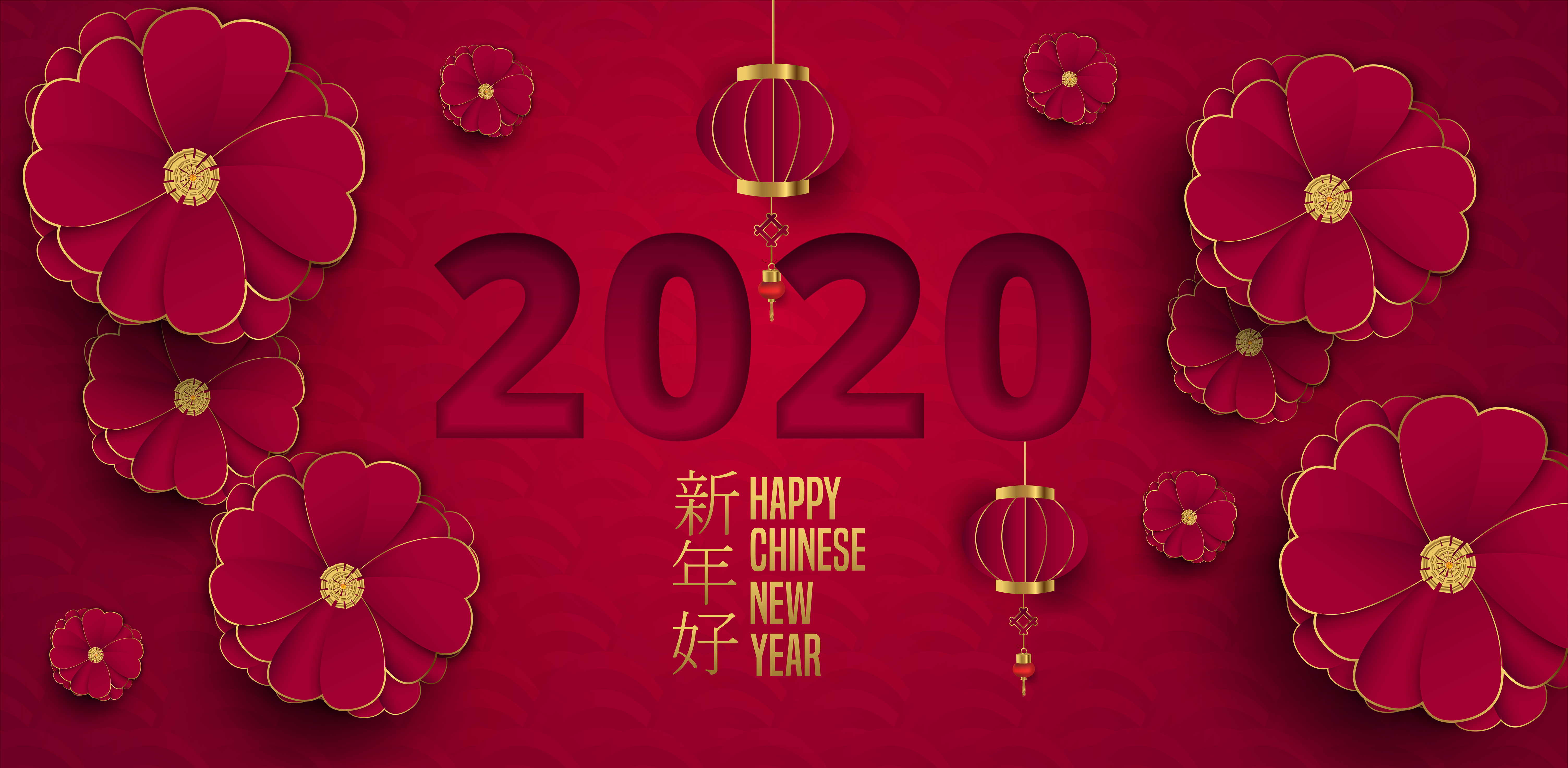 Chinese New Year Card With Flowers Lanterns And Clouds In Layered Paper Download Free Vectors Clipart Graphics Vector Art