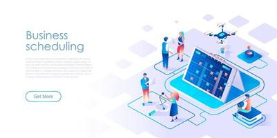 Business scheduling isometric landing page
