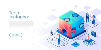 Team metaphor with cube puzzle isometric landing page