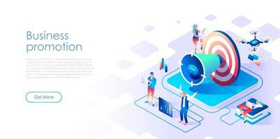 Business promotion isometric landing page with target