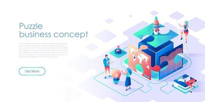 Business puzzle isometric landing page