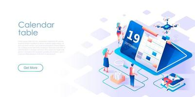 Calendar table isometric landing page