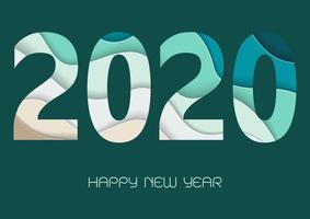Happy new year 2020 with paper art numbers in green and blue colors