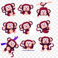 Cartoon monkey with different poses and expressions. vector